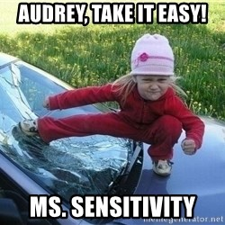 Angry Karate Girl - Audrey, Take it easy! Ms. Sensitivity