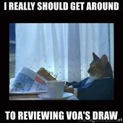 i should buy a boat cat - I really should get around to reviewing VOA's draw