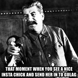 Joseph Stalin - That moment WHEN you see a nice insta chick And send her in to gulag