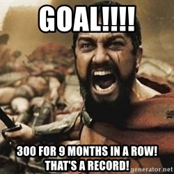 300 - GOAL!!!! 300 for 9 months in a row! That's a record!