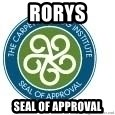 Seal Of Approval - RORYS Seal of approval