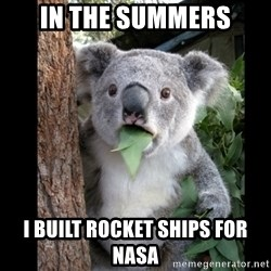 Koala can't believe it - in the summers i built rocket ships for nasa