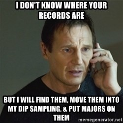 taken meme - I don't know where your records are but i will find them, move them into my dip sampling, & put majors on them