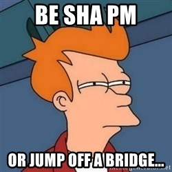 Not sure if troll - Be sha pm or jump off a bridge...