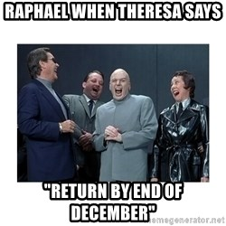 "Dr. Evil Laughing - Raphael when Theresa says  ""return by end of December"""