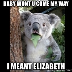 Koala can't believe it - Baby wonT U come my way  I meant eLiZabeth