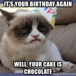 Birthday Grumpy Cat - it's your birthday again well, your cake is chocolate