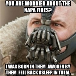Bane - You are worried about the napa fires? I was born in them. Awoken by them. Fell back asleep in them.