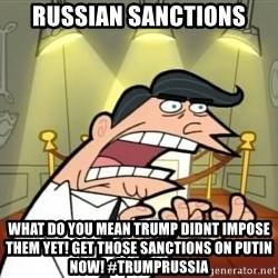 Timmy turner's dad IF I HAD ONE! - RUSSIAN SANCTIONS WHAT DO YOU MEAN TRUMP DIDNT IMPOSE THEM YET! GET THOSE SANCTIONS ON PUTIN NOW! #TRUMPRUSSIA