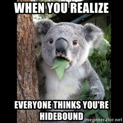 Koala can't believe it - when you realize  everyone thinks you're hidebound