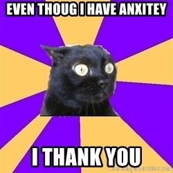 Anxiety Cat - even thoug i have anxitey i thank you