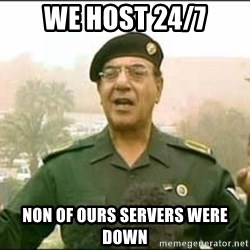 Iraqi Information Minister - WE host 24/7 Non of ours servers were down