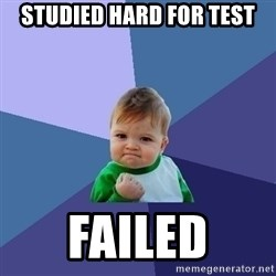 Success Kid - studied hard for test Failed