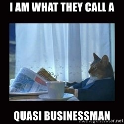 i should buy a boat cat - i am what they call a quasi businessman