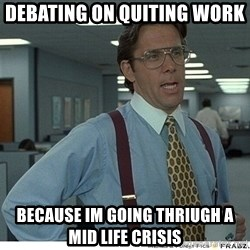 That would be great - Debating on quiting work   BecAuse im going thriugh a mid life crIsis