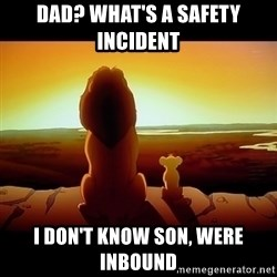 Simba - Dad? What's a safety INCIDENT  i don't know son, were inbound