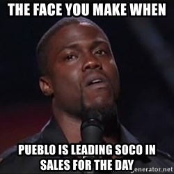 Kevin Hart Face - THE FACE YOU MAKE WHEN  PUEBLO IS LEADING SOCO IN SALES FOR THE DAY
