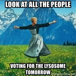 Look at all the things - look at all the people voting for the lysosome tomorrow