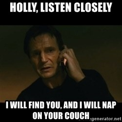 liam neeson taken - Holly, Listen Closely I will find you, and I will Nap on your couch