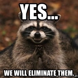 evil raccoon - Yes... we will eliminate them.