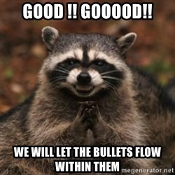 evil raccoon - Good !! Gooood!! We will let the bullets flow within them