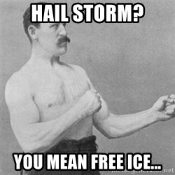 overly manlyman - Hail storm? You mean free ice...