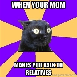 Anxiety Cat - when your mom  makes you talk to relatives