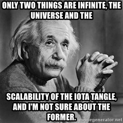 Albert Einstein - Only two things are infinite, the universe and THE SCalability of the IOTA Tangle,            and I'm not sure about the former.