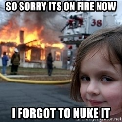 Disaster Girl - so sorry its on fire now I forgot to nuke it