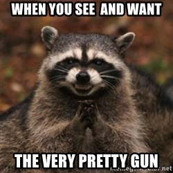 evil raccoon - when you see  and want the very pretty gun