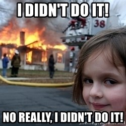 Disaster Girl - i didn't do it! no really, i didn't do it!