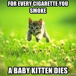 God Kills A Kitten - For every CIGARETTE you smoke A Baby Kitten dies