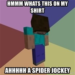 Depressed Minecraft Guy - Hmmm whats this on my shirt Ahhhhh a spider joCkey