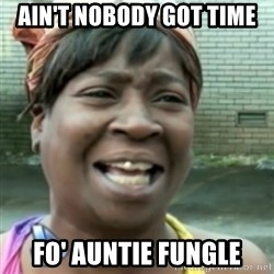 Ain't nobody got time fo dat so - AIN'T NOBODY GOT TIME FO' AUNTIE FUNGLE