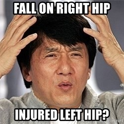 Jackie Chan - Fall on Right HIp Injured left hip?
