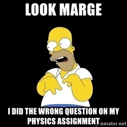 look-marge - LOOK MARGE I did the wrong question on my physics assignment
