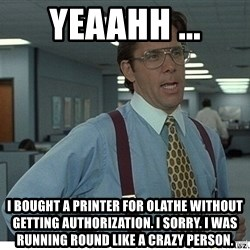 That would be great - YEAAHH ... I bought a printer for olathe without getting authorization. I sorry. I was running round like a crazy person.