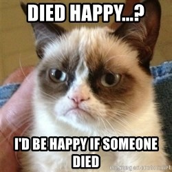 Grumpy Cat  - died happy...? I'd be happy if someone died
