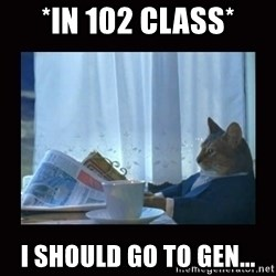 i should buy a boat cat - *in 102 class* i SHOULD GO TO GEN...