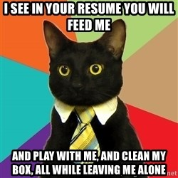 Business Cat - i see in your resume you will feed me and play with me, and clean my box, all while leaving me alone
