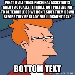 Futurama Fry - What if all these personal assistants aren't actually terrible, but pretending to be terrible so we don't shut them down before they're ready for Judgment Day? bottom text