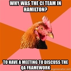 Anti Joke Chicken - Why was the CI team in hamilton? to have a meeting to discuss the QA framework