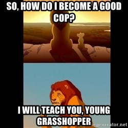 Lion King Shadowy Place - So, how do i become a good cop? I will teach you, young grasshopper