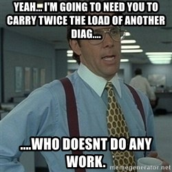 Office Space Boss - yeah... i'm going to need you to carry twice the load of another diag.... ....who doesnt do any work.