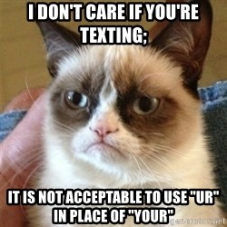 """Grumpy Cat  - I don't care if you're texting; it is not acceptable to use """"ur"""" in place of """"your"""""""