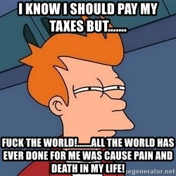 Futurama Fry - i know i should pay my taxes but....... fuck the world!.......all the world has ever done for me was cause pain and death in my life!