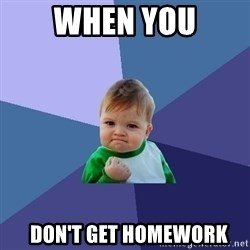 Success Kid - wHEN YOU   don't get homework