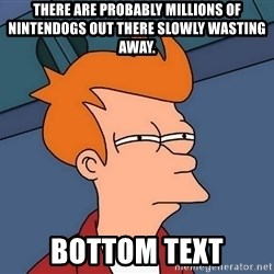 Futurama Fry - There are probably millions of NintenDogs out there slowly wasting away. bottom text