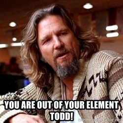 Big Lebowski - You are out of your element Todd!