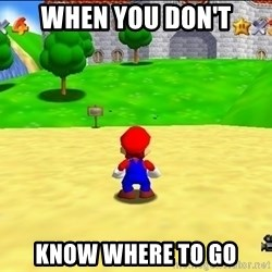 Mario looking at castle - when you don't know where to go